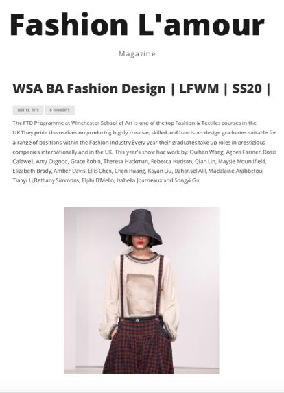 WSA BA Fashion Show Current Vision featured in Fashion L'amour Magazine